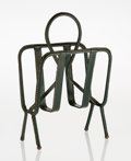 Decorative Arts, French, Jacques Adnet (French, 1900-1984). Magazine Stand, circa1950. Leather with brass frame. 18-5/8 x 12 x 7 inches (47.3 x ...