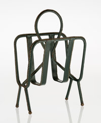Jacques Adnet (French, 1900-1984) Magazine Stand, circa 1950 Leather with brass frame 18-5/8 x 12