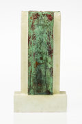 Art Glass, Howard Ben Tre (American, b. 1949). Cast Form XXXV, 1983. Cast glass with patinated copper. 20-1/4 x 10-3/4 x 3-5/8 inch...