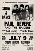 Music Memorabilia:Posters, Paul Revere and the Raiders Salem Armory Concert Poster (C...