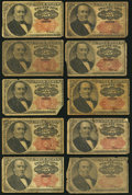 Fractional Currency:Fifth Issue, Fr. 1308/1309 25¢ Fifth Issue Ten Examples Very Good or Better..... (Total: 10 notes)