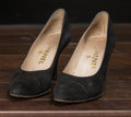 "American:Academic, A Zsa Zsa Gabor Pair of Designer High Heels, Circa 1990s.. Blacksuede, leather soles, label reads ""Chanel"" and ""Made in Fra..."