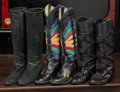 American:Academic, A Zsa Zsa Gabor Collection of Black Boots, Circa 1990s.. Threepairs total including: 1) black leather cowboy with beautiful...(Total: 3 Items)