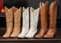American:Academic, A Zsa Zsa Gabor Group of Cowboy Boots, Circa 1980s.. Three pairstotal including: 1) tan leather with rust and beige-colored...(Total: 3 Items)
