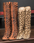 American:Academic, A Zsa Zsa Gabor Set of Animal-Print Boots, Circa 1960s-1980s.. Twopairs total; the first faux leopard fur, mid-calf, leathe...(Total: 2 Items)