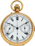 Timepieces:Pocket (post 1900), Negretti & Zambra Holborn Viaduct 18K Gold English MinuteRepeater, Day & Date. ...