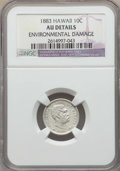 Coins of Hawaii , 1883 10C Hawaii Ten Cents -- Environmental Damage -- Details NGC.AU. NGC Census: (24/240). PCGS Population: (67/310). CDN:...