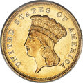Three Dollar Gold Pieces, 1855-S $3 AU53 PCGS. CAC....