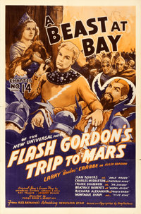 "Flash Gordon's Trip to Mars (Universal, 1938). One Sheet (27"" X 41"") Chapter 14 -- ""A Beast at Bay.""..."