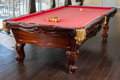 "Furniture , A Brunswick ""Orleans"" Pool Table with Accessories. 31-1/2 h x 111-1/4 w x 61 d inches (80.0 x 282.6 x 154.9 cm) (table). ... (Total: 4 Items)"