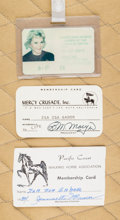 American:Academic, A Zsa Zsa Gabor Group of ID Cards, Circa 1980s.. Three total; thefirst for the Equestrian Sports Games of the XXIIIrd Olymp...