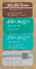 American:Academic, A Zsa Zsa Gabor Group of Department Store Charge Cards, Circa1970s.. Four total, all showing the star's name with two also ...(Total: 4 Items)