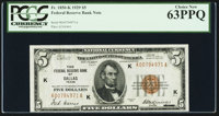 Fr. 1850-K $5 1929 Federal Reserve Bank Note. PCGS Choice New 63PPQ
