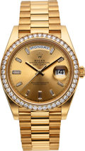 Timepieces, Rolex Day-Date 40 Gold Oyster Perpetual Baguette Diamond Dial, Diamond Bezel. ...