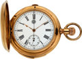Timepieces:Pocket (post 1900), LeCoultre 18k Gold Large Quarter Hour Repeater Chronograph ForCharles Humbert & Fils. ...