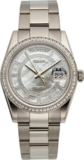 Timepieces:Wristwatch, Rolex 118399BR White Gold Day-Date Mother-Of-Pearl Carousel 217 Diamonds. ...