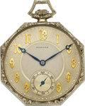 Timepieces:Pocket (post 1900), E. Howard Watch Co. 14k White Gold 21 Jewel. ...