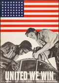 "Movie Posters:War, World War II Propaganda (U.S. Government Printing Office,1943). WarManpower Commission Poster (28.5"" X 40"") ""United We Win...."