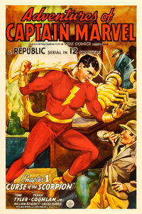 "Adventures of Captain Marvel (Republic, 1941). One Sheet (27"" X 41"") Chapter 1--""Curse of the Scorpion.&q..."