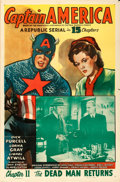 """Movie Posters:Serial, Captain America (Republic, 1944). One Sheet (27"""" X 41"""") Chapter 11 -- """"The Dead Man Returns."""". ..."""