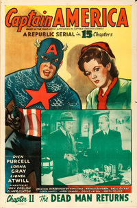 "Captain America (Republic, 1944). One Sheet (27"" X 41"") Chapter 11 -- ""The Dead Man Returns."""