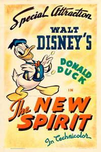 "Donald Duck in The New Spirit (RKO, 1942). One Sheet (27.5"" X 41"")"