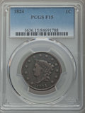 Large Cents: , 1824 1C Fine 15 PCGS. PCGS Population: (18/175). NGC Census: (4/68). Mintage 1,262,000. ...