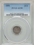 Three Cent Silver: , 1856 3CS AU50 PCGS. PCGS Population: (22/387). NGC Census:(11/294). AU50. Mintage 1,458,000. ...
