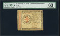 Colonial Notes:Continental Congress Issues, Continental Currency January 14, 1779 $3 PMG Choice Uncirculated 63.. ...
