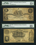 Confederate Notes:Group Lots, T30 $10 1861 PF-3 Cr. 239;. T36 $5 1861 PF-4 Cr. 278.. ... (Total:2 notes)
