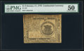 Colonial Notes:Continental Congress Issues, Continental Currency February 17, 1776 $1 PMG About Uncirculated 50.. ...