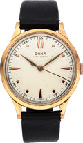 Timepieces:Wristwatch, Doxa Gent's 14k Rose Gold Watch. ...