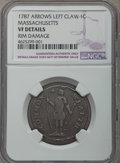 1787 CENT Massachusetts Cent, Arrows in Left Talon -- Rim Damage -- Details NGC. VF. NGC Census: (3/69). PCGS Population...