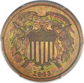 1863 2C Two Cents, Judd-312, Pollock-377, R.4, PR65 Red and Brown PCGS Secure....(PCGS# 70467)