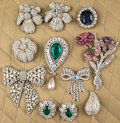 American:Academic, A Zsa Zsa Gabor Collection of Large Rhinestone Brooches,1950s-1990s.. Eleven total, including four in the form of flowers,...
