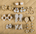 American:Academic, A Zsa Zsa Gabor Collection of Fancy Earrings, Circa 1980s-1990s..Nine pairs total; seven made of rhinestones in gold-tone s...