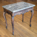 Furniture , A Louis XV Carved Oak Table with Gris Marble Top, 18th century and later. 29-1/2 h x 31-1/2 w x 21-1/2 d inches (74.9 x 80.0...