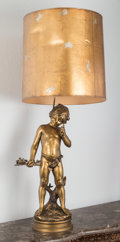 Lighting:Lamps, A Gilt and Bronzed Metal Figural Lamp After Auguste Moreau, mid-20th century. 51 inches high (129.5 cm) (overall). ...