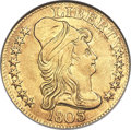 Early Half Eagles, 1803/2 $5 BD-4, R.4 -- Filed, Cleaned -- ANACS. AU Details, NetXF40....