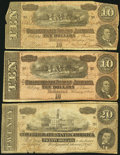 Confederate Notes, T67 $20 1864;. T68 $10 1864 (2).. ... (Total: 3 notes)