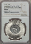 """Counterstamps, 1923 $1 Counterstamped """"1978"""" MS63 NGC. Camp David Peace Summit. NGC Census: (106392/189085). PCGS Population: (87033/10626..."""
