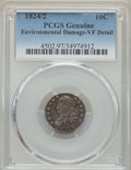 Bust Dimes, 1824/2 10C -- Environmental Damage -- PCGS Genuine. VF Details. NGCCensus: (0/47). PCGS Population: (17/63). CDN: $450 Whs...