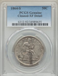 Seated Half Dollars: , 1864-S 50C -- Cleaning -- PCGS Genuine. XF Details. NGC Census: (6/37). PCGS Population: (28/76). CDN: $385 Whsle. Bid for...