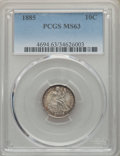 Seated Dimes: , 1885 10C MS63 PCGS. PCGS Population: (66/191). NGC Census: (53/215). CDN: $200 Whsle. Bid for problem-free NGC/PCGS MS63. M...