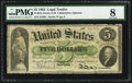 Large Size:Legal Tender Notes, Fr. 61a $5 1862 Legal Tender PMG Very Good 8.. ...