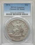 Trade Dollars: , 1874 T$1 -- Cleaning -- PCGS Genuine. XF Details. NGC Census:(2/132). PCGS Population: (11/178). XF40. Mintage 987,100. ...