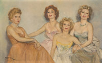 Fried Pal (Hungarian/American, 1893-1976) Portrait of Zsa Zsa with Mother, Jolie and sisters, Eva and Magda