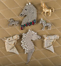 Jewelry:Brooches/Pins, A Zsa Zsa Gabor Collection of Horse Brooches, 1950s-1990s.. Seven total including: four largish rhinestone horse heads; one ... (Total: 7 Items)