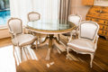 Furniture , A Five-Piece Louis XV-Style Paint Decorated Dining Suite 34-1/4 h x 23-1/2 w x 20 d inches (87.0 x 59.7 x 50.8 cm) (chairs)... (Total: 5 Items)