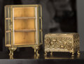 Decorative Arts, Continental:Other , A Zsa Zsa Gabor Gilt Brass Jewelry Table Casket and DiminutiveJewelry Vitrine, mid-20th century. 10-3/8 h x 8 w x 4-3/4 d i...(Total: 2 Items)